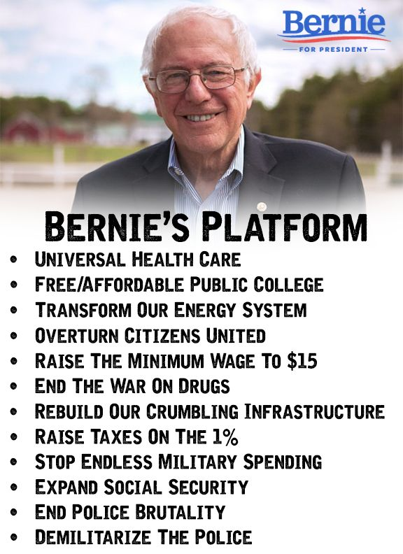 Bernie Sanders' Platform : Taking this country back from the Billionaires that bought it from the Republican Party !!!: