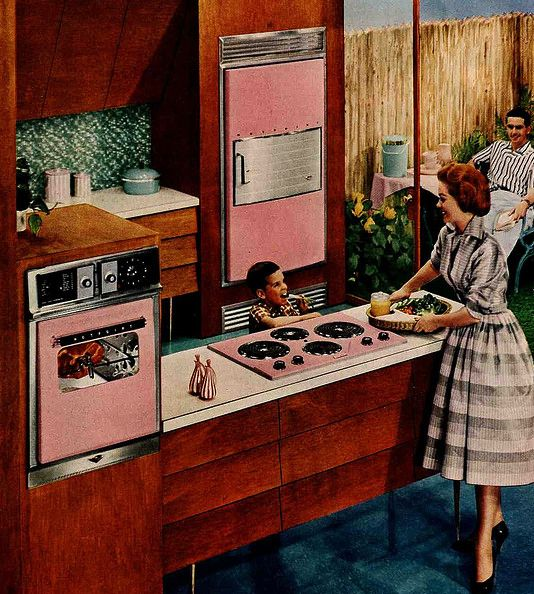 Vintage 1950s Pink Kitchen Appliances...a wall fridge AND Oven?
