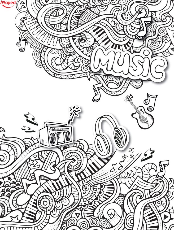 Love this music doodle | Music Coloring Pages for Adults ...