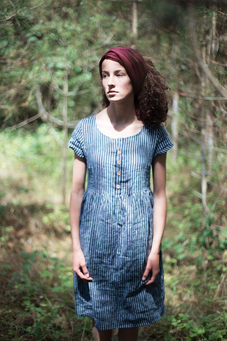Indigo stripe Linen, button up, short sleeve, midi length dress — Pyne & Smith Clothiers