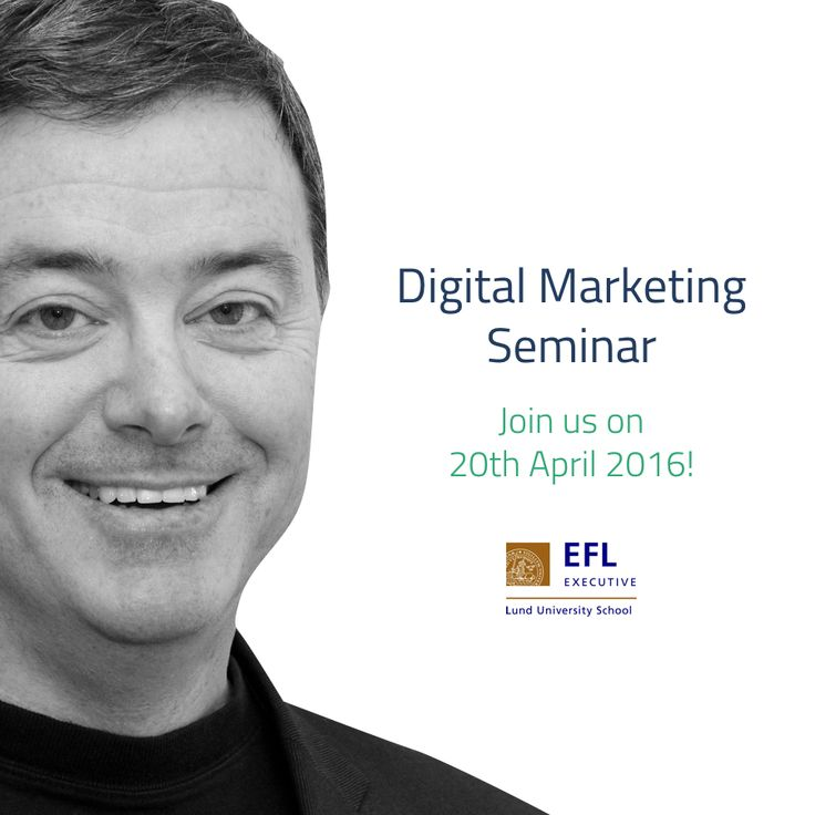 "Join us for a morning about ""Digital Marketing - strategic business tools and methods for better communication."" Listen and discuss with Sean Duffy, one of the nation's foremost experts on the subject. This lecture will also give you the opportunity to sign up for our autumn course. http://www.efl.se/nyh…/seminarium-om-digital-marknadsforing/"