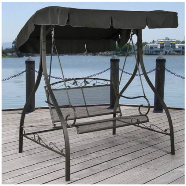 2 Person Outdoor Canopy Swing Set Patio Furniture Backyard Swings Wrought Iron   #2PersonOutdoorCanopySwing