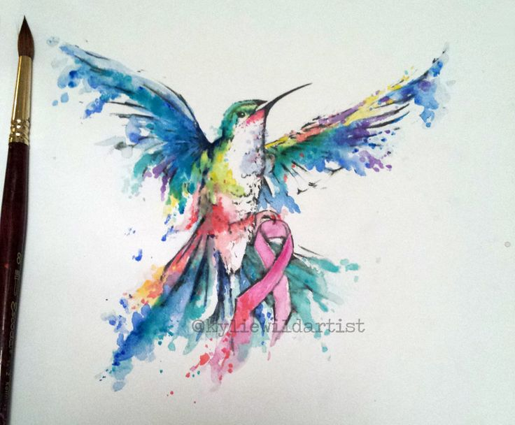 Watercolor Tattoo design  Cancer Freeing Humming bird with breast cancer ribbon. By Kylie Wild Heslop Tattoo Artist