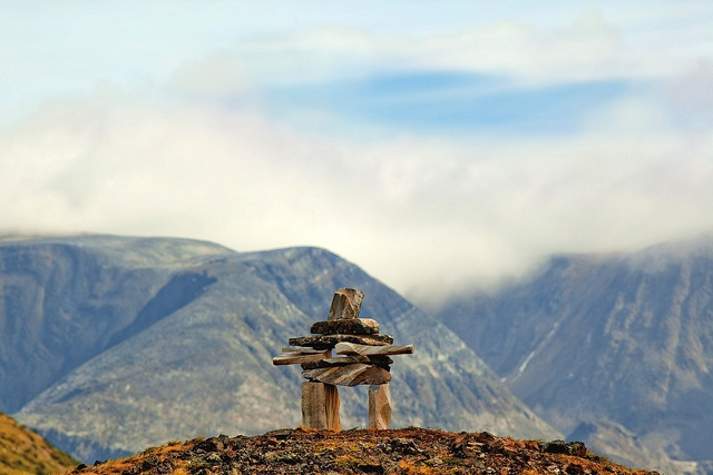 Inukshuk in the Torngat mountains in Labrador.