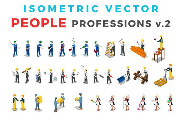 Vector Professions People Isometric by Sentavio on @creativemarket