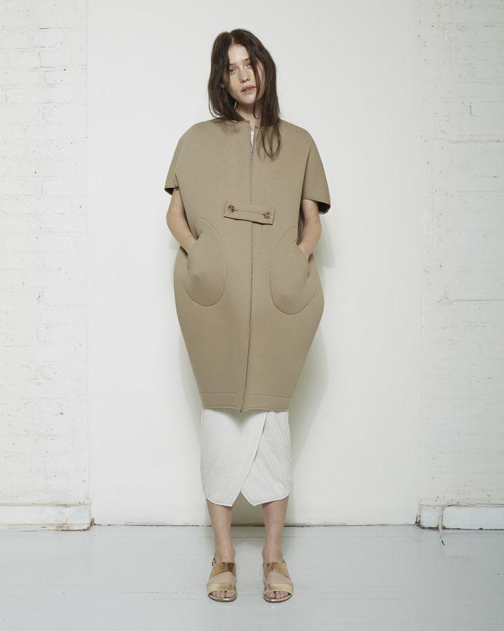 Cocoon Coat with sculptural silhouette - shape & volume; soft neutrals; 3D fashion construction // Zero + Maria Cornejo