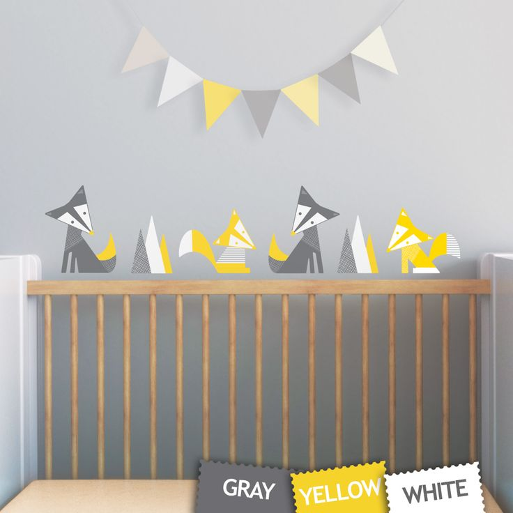 This adorable set of foxes wall decal is just perfect for the woodland-theme space. Inspired by geometric shapes, this design is modern and yet playful.