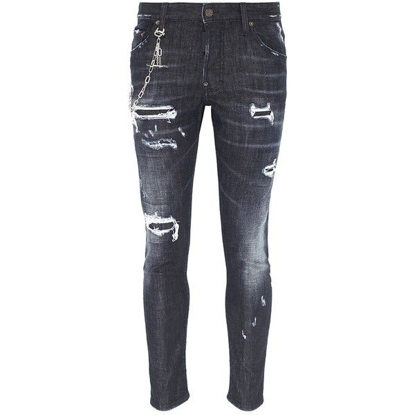 Dsquared2 'Skater' chain ripped jeans ($785) ❤ liked on Polyvore featuring men's fashion, men's clothing, men's jeans, black, mens patched jeans, mens ripped jeans, mens destroyed jeans, mens torn jeans and mens distressed jeans