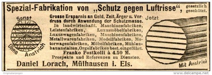 Original-Werbung/ Anzeige 1905 - SCHUTZ GEGEN LUFTRISSE / LORACH - MÜLHAUSEN IM ELSASS - ca. 95 x 30 mm