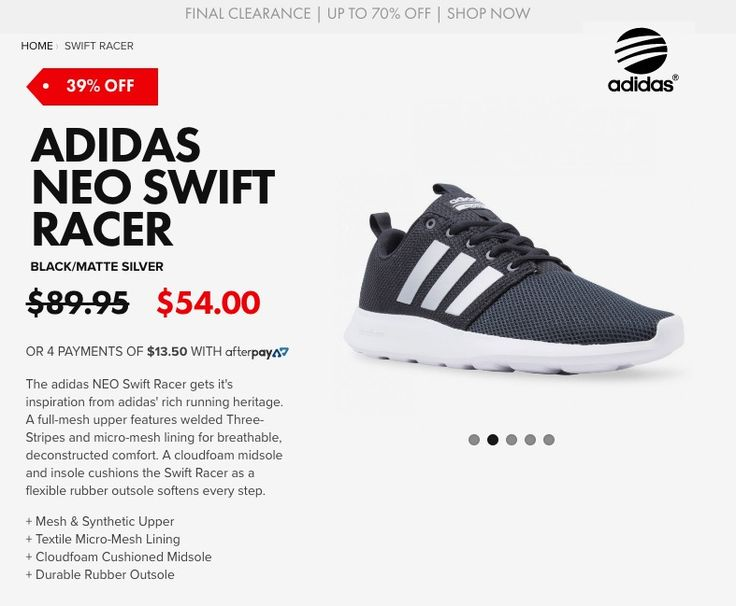 adidas NEO SWIFT RACER Black/Matte Silver - Free shipping for orders above $50*