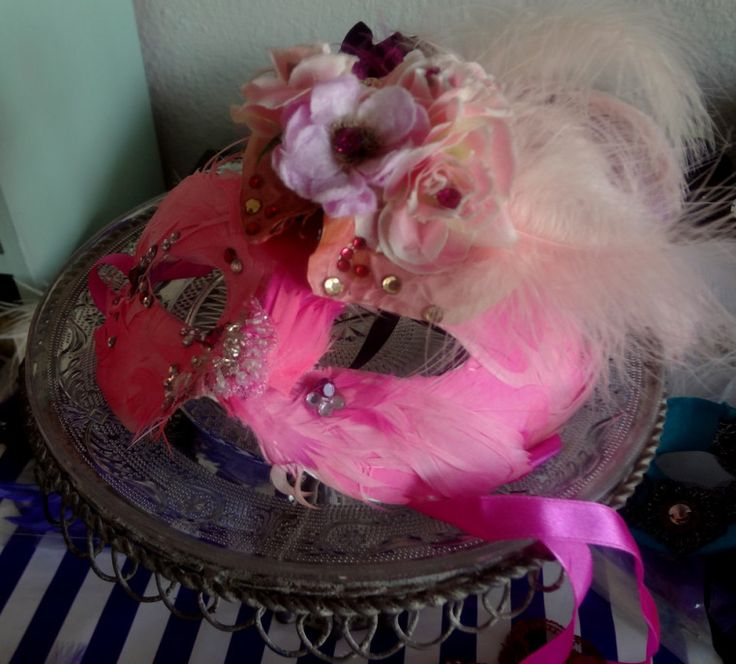 Carrie B Pink Feather Mask  www.carrieb.org