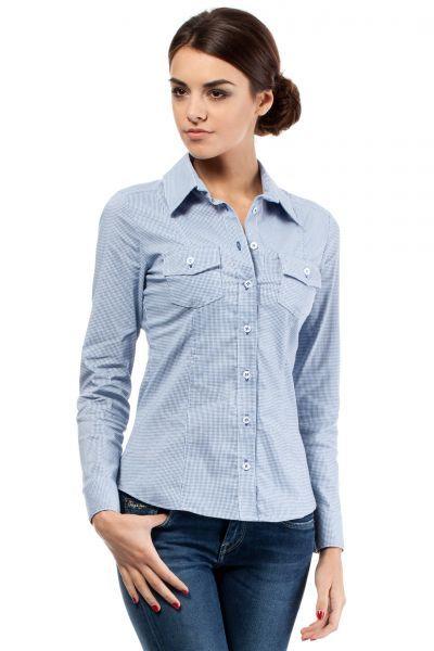 Blue shirt with asymmetric pockets