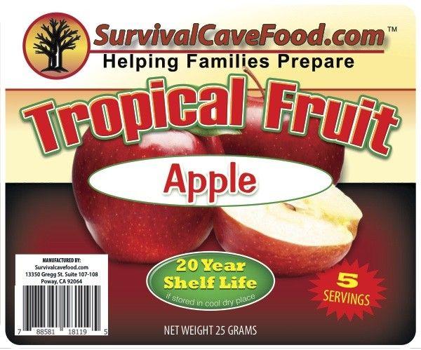 Survivalcavefood Freeze Dried Fruits - Apple 5 serving pouch