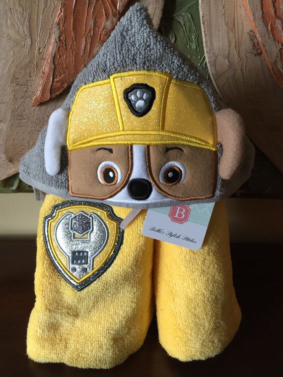 Free Badge Paw Patrol Rubble Hooded Towel by BellaStylishStitches