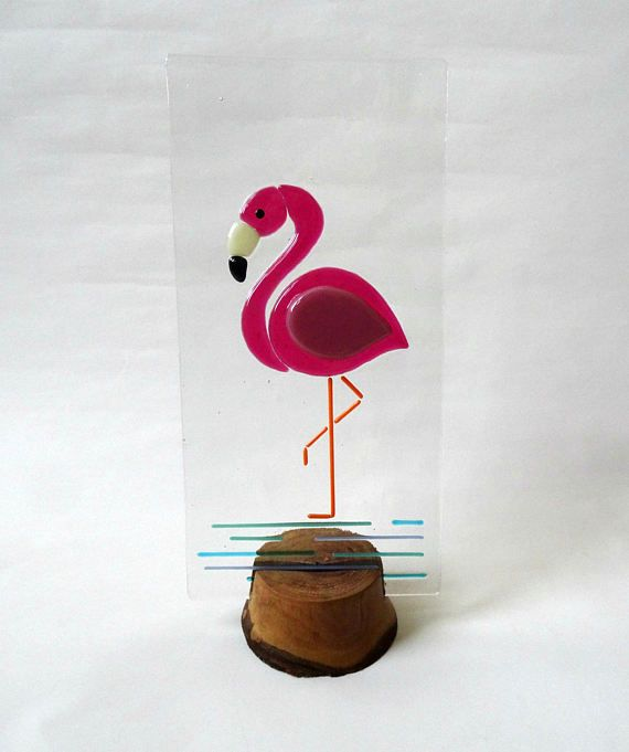 Fused glass flamingo panel handmade stained glass art wooden