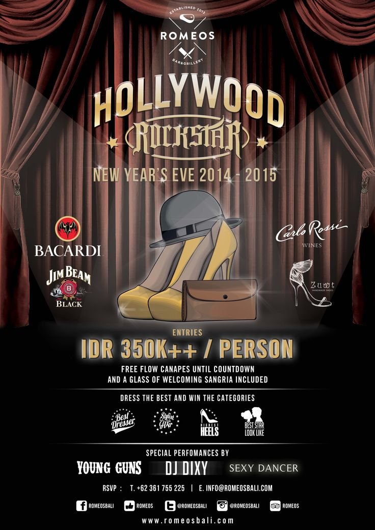 Celebrate this New Year's Eve as a Hollywood Rockstar at Romeos Bar & Grillery, Jalan Padma Utara, Legian, Bali. Dress up and you have a chance to win Romeos Hollywood Rockstar Awards for Best ...