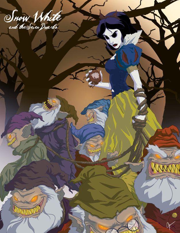"19 Delightfully Macabre Disney Heroines - Artist, Jerry Thomas, ""Twisted Disney"" series."