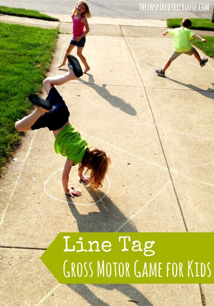 """The Inspired Treehouse - Line Tag (gross motor game for kids) - A new twist on the classic game of tag.  Watch as your children work on their gross motor skills by balancing on a line, completing donkey kicks, hopping one one foot and jumping on two....all to avoid the person who is """"IT"""".  What a blast!"""