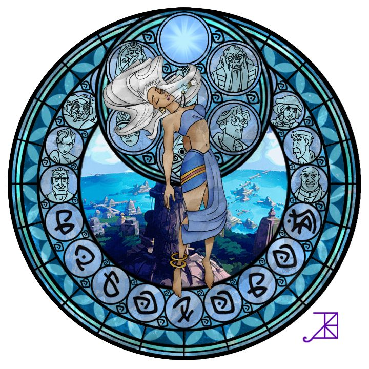 """Stained Glass: Kida -Take 2- by Akili-Amethyst.deviantart.com on @deviantART - Eighth in a series based on the Stations of Awakening from """"Kingdom Hearts"""": Kida from """"Atlantis: The Lost Empire""""."""