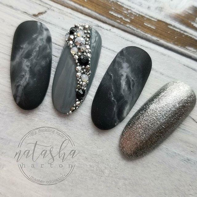 Nail design set with dark black grey marble design, silver gel ...