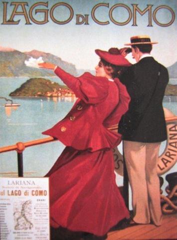 Bon Voyage! Lake Como vintage poster