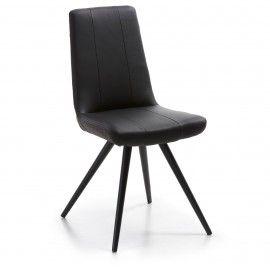 Scudo2 stoel  - Zwart PU leder - Zwart onderstel - Laforma-Kave Maak je eetkamer compleet met deze strakke eetkamerstoel! De Scudo2 heeft een hoge zithoogte waardoor deze stoel perfect geschikt is voor jouw lange benen. De eetkamerstoel is gestoffeerd in PU leder en heeft een zwart gespoten onderstel.