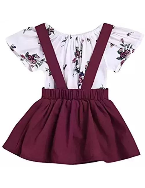 782e47803 2Pcs Infant Toddler Baby Girls Summer Boho Floral Rompers Jumpsuit Strap  Skirt Overall Dress Outfits Set