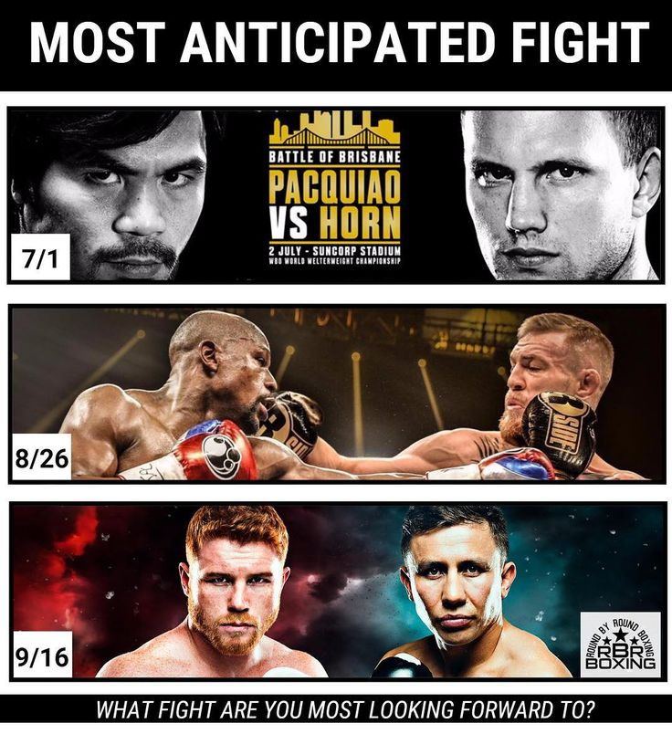 Some of boxing's biggest names are in action in July, August and September. Which fight are you most looking forward to: Manny Pacquiao vs. Jeff Horn, Floyd Mayweather vs. Conor McGregor, Canelo Alvarez vs Gennady Golovkin or another fight? #Boxing #Boxeo #RoundByRoundBoxing #RoundByRound #RBRBoxing #RBRBuzz #MayweatherMcGregor #CaneloGGG #PacquiaoHorn #HBOBoxing #ShowtimeBoxing #Showtime #MayweatherPromotions #MMA #UFC #ConorMcGregor #GennadyGolovkin #GGG #CaneloAlvarez #MannyPacquiao…