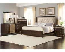 The Manhattan Bedroom set bring a piece of the big city no matter where you live. #upholstered #darkwood #chic #bedroom