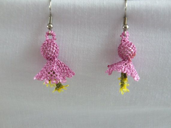 Handmade needle lace earrings ,hand crochet earrings,turkish oya earrings , pink earrings