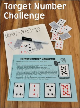Target Number Challenge Game in Math Stations for Middle Grades from Laura Candler $