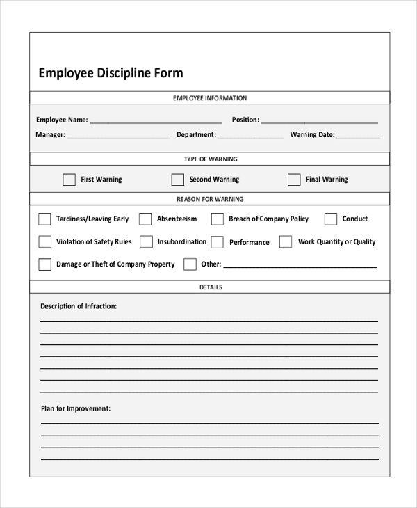 Employee Discipline Form Employee Handbook Template Counseling