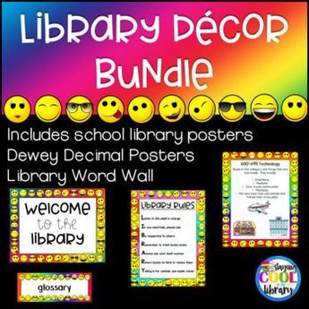 This is a bundle of my Rainbow Emoji Library Decor. It includes the library posters, the Dewey Decimal System Posters and the Word Wall.