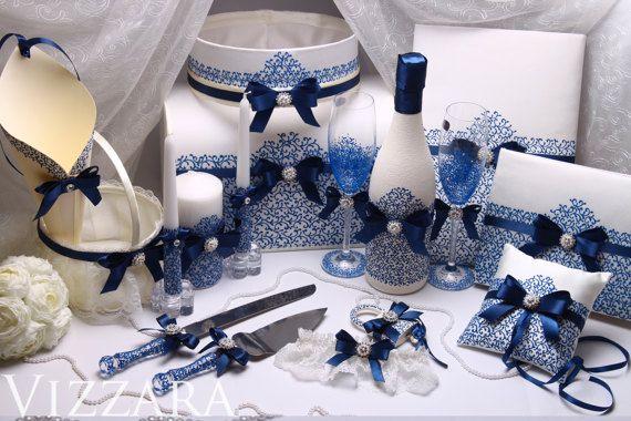 Wedding Cake Server Set Navy blue Hand PAINTED от VIZZARA на Etsy