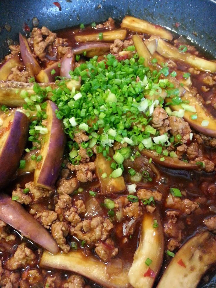 Spicy Eggplant With Minced Pork   Delishar - Singapore Cooking Blog