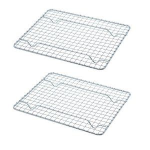 Heavy-Duty 1/4 Size Cooling Rack, Cooling Racks, Wire Pan Grade, Commercial grade, Oven-safe, Chrome, 8 x 10 Inches, Set of 2 | Price:$8.35