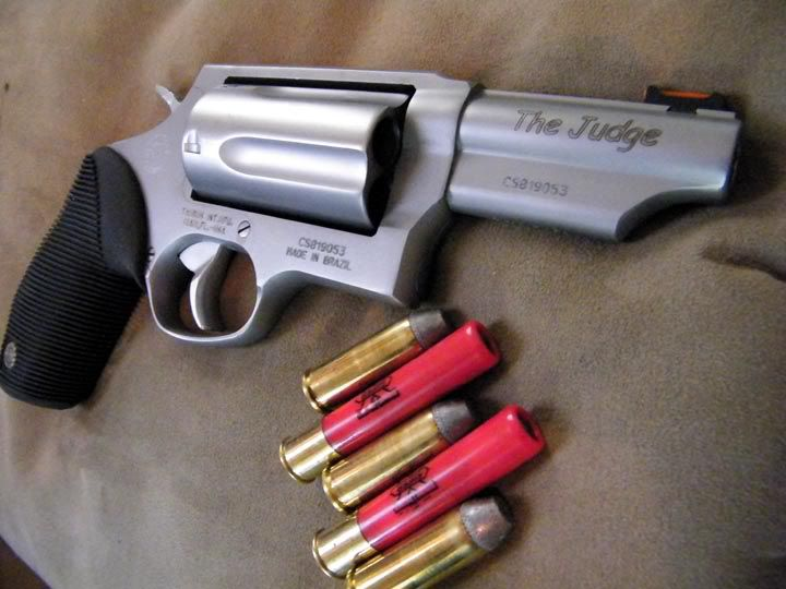 "Taurus Judge - posting to my faves, not to be aggressive, but to share in case someone is interested in what a somewhat 'Stay at home Mom' likes to keep around for home defense.  This shoots shotgun shells and .45.  Mine is named ""Judy"" -Mary"
