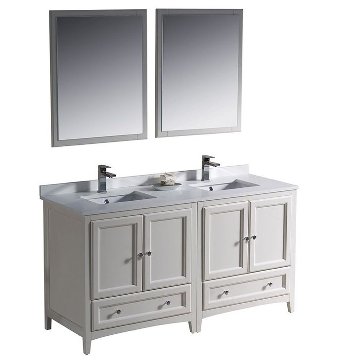 Fresca Oxford 60-inch Antique White Traditional Double Sink Bathroom Vanity