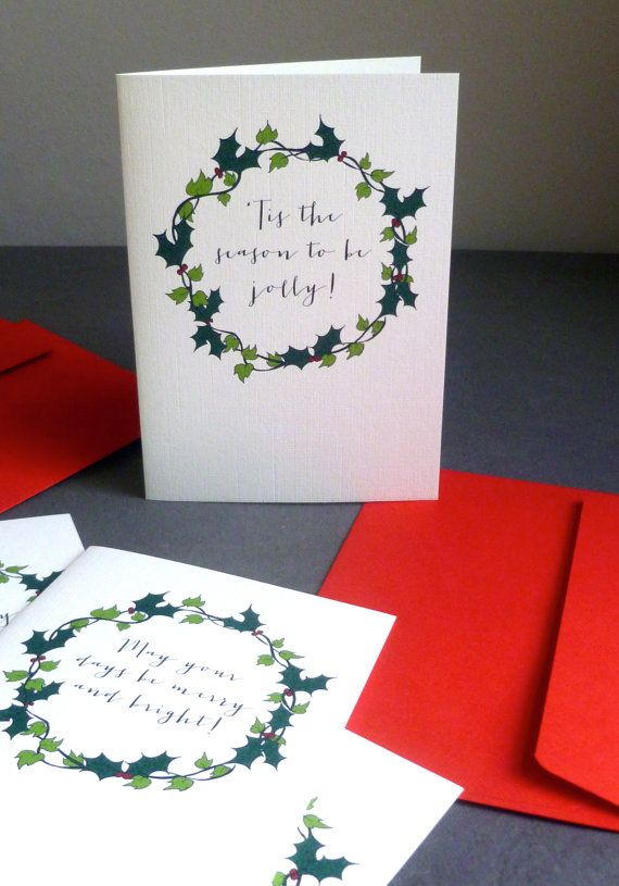 5 Hand-drawn Holly & Ivy Wreath Christmas Card by ooopsaDOODLE
