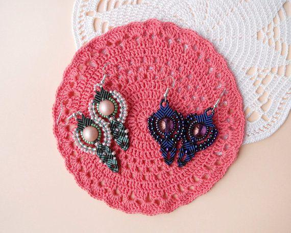 Micro macrame earrings Sage MistyRose / Blue by MartaJewelry