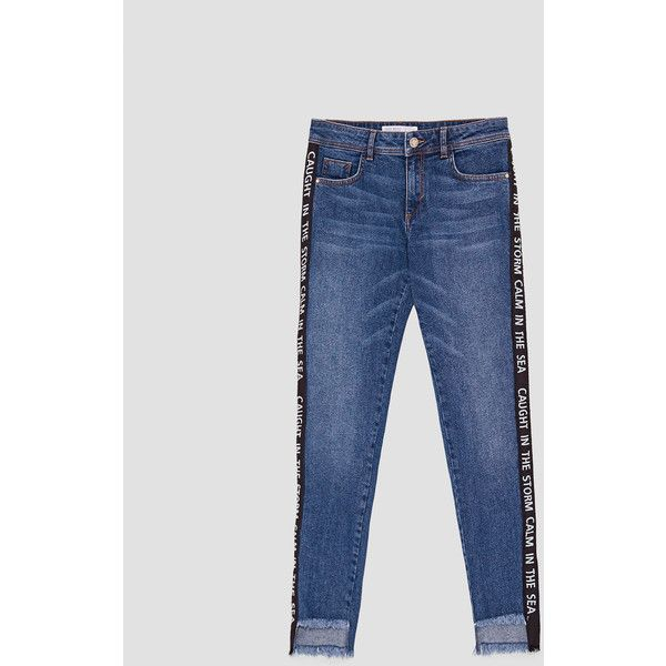 JEANS CINTA TEXTO - Ver todo-JEANS-MUJER   ZARA España ($36) ❤ liked on Polyvore featuring jeans