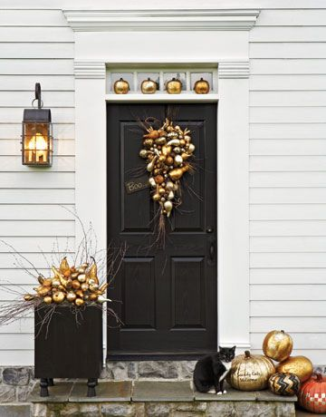 Front Porch: The Doors, Halloween Decor, Gold Pumpkin, Fall Decor, Fall Doors, Front Doors, Fall Porches, Paintings Pumpkin, Front Porches