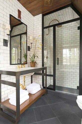 Bathroom color scheme   white subway tile on walls  dark floor  copper brass. 78 Best ideas about Industrial Bathroom on Pinterest   Industrial