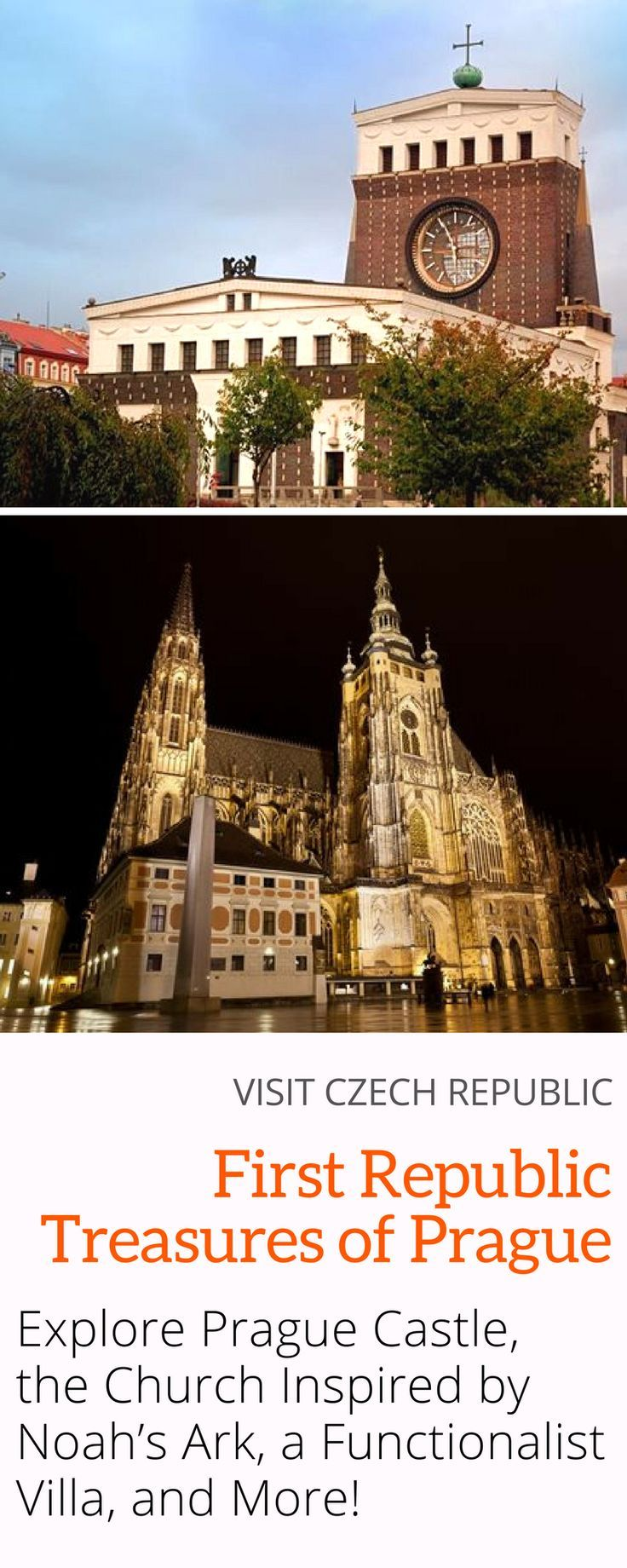 First Republic Treasures of Prague: Get to know Prague Castle, a luxurious functionalist villa, the catholic church inspired by Noah�s Ark with the largest clock tower in the Czech Republic, and more! Click here to explore Prague�s treasures from the earl