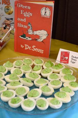 This page has quite a few great ideas for a library/book themed party. I really love the idea of these green eggs :)
