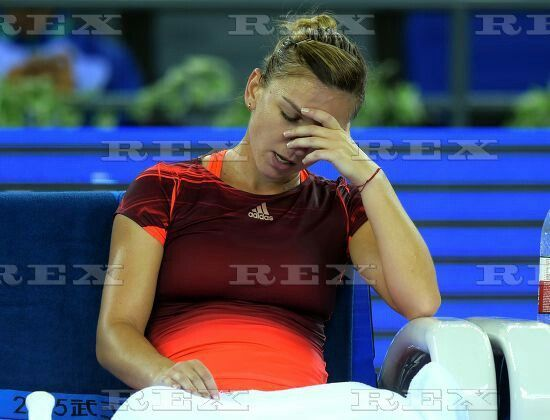 Wuhan Open WTA tennis tournament, China - 30 Sep 2015  Simona Halep of Romania reacts during the third round match against Johanna Konta of Britain 30 Sep 2015