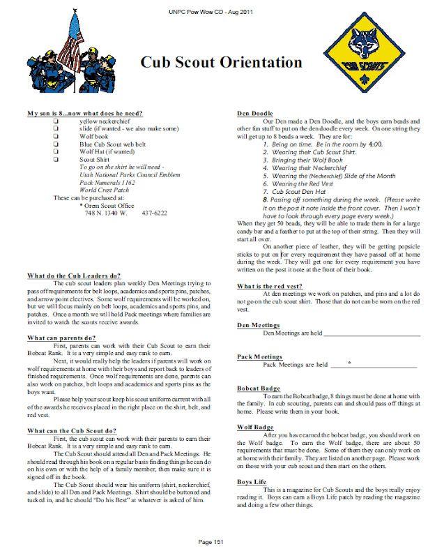 Cub Scout Letter To Parents