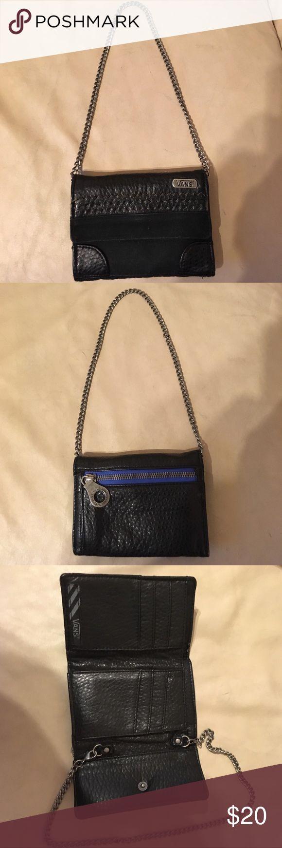 """VANS Zip Clutch Wallet with Chain VANS Black clutch wallet with chain. Approx. 5"""" x 4"""" snap closure. VANS Bags Wallets"""