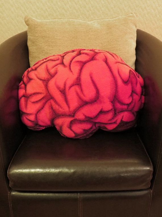 Anatomical Brain - Hand Painted Large Cushion. MEASURES APPROX. 54cm x 38cm.