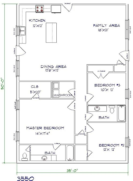 barndominium floor plan 3 bedroom 2 bathroom 35x50 | Pole ...